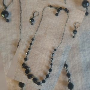Black Swarovski Crystal Necklace/earrings